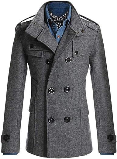 Wool Pea Coat for Men, Fleece Jacket Classic Trench Coat Winter Wool Pet  Jacket Oversized Outwear Jackets (Gray, Xl) at Amazon Men's Clothing store