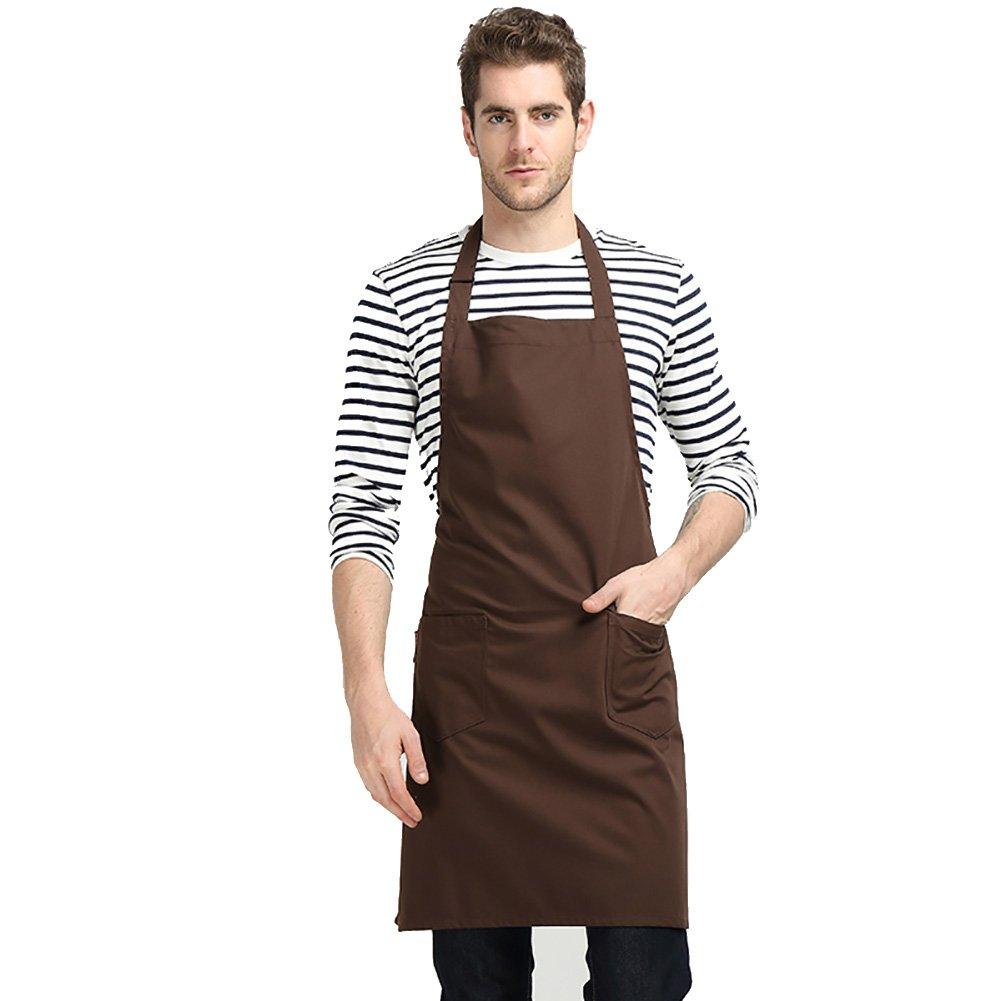 jyphm調節可能なよだれかけエプロンの女性またはメンズポケット付きキッチンシェフの料理BBQ Baking Crafting JYPAPR102  ダークブラウン B07FBM6YV8