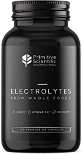 Primitive Scientific Whole Food Electrolyte Supplements, 120 Electrolyte Tablets with Magnesium, Zinc, Calcium, Potassium, and More for Boosting Energy, Rapid Hydration and Rejuvenation