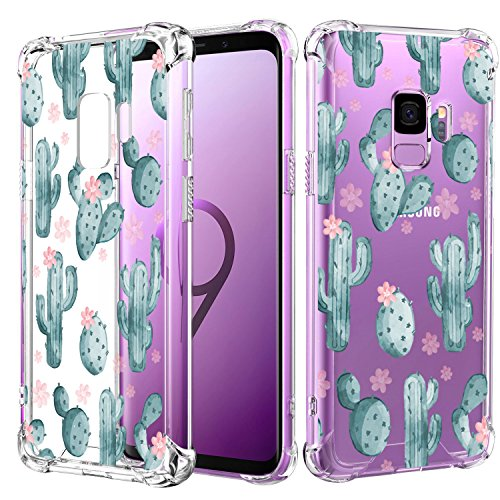 Samsung Galaxy S9 Case with Cactus,Hepix Slim Shockproof Clear Floral Pattern Soft Flexible TPU Bumper Cushion Cover with Reinforced Corners for Samsung Galaxy S9 5.8 ()