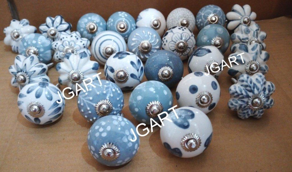Set von 10grau & weiß runde Form Keramik Türknauf Kabinett Knauf Schrank zieht Pull Lockvogel jgart