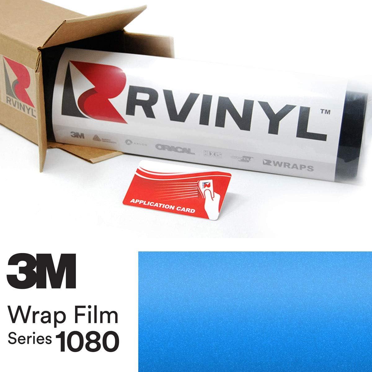 3M 1080 S347 Satin Perfect Blue 5ft x 1ft W/Application Card Vinyl Vehicle Car Wrap Film Sheet Roll