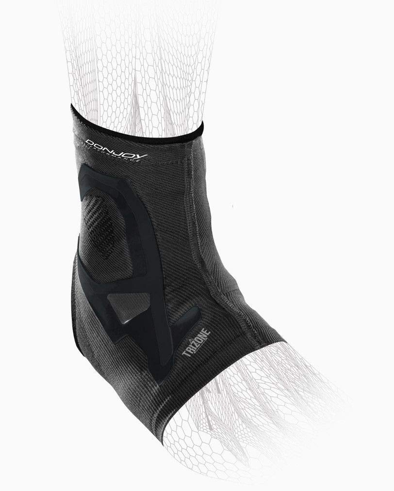 DonJoy Performance TRIZONE Compression: Ankle Support Brace, Black, Small