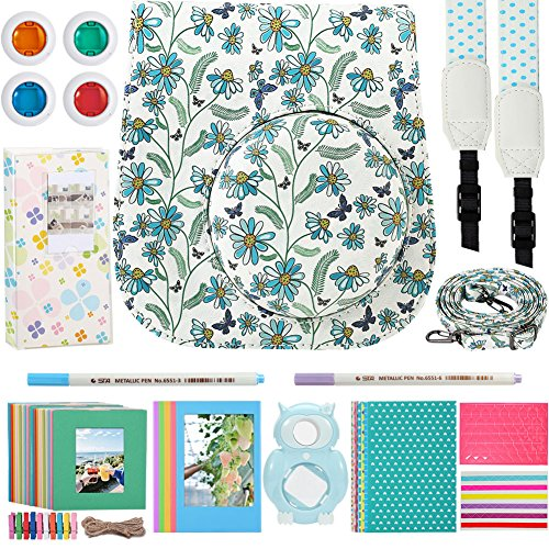 Katia 8 In 1 Instax Mini 9/ 8+ /8 Camera Accessories Bundle For Fujifilm Instant Film Camera (Protective Case/ Photo Album/ Filters/ Selfie Len/ Hanging Frames/ Stickers) and More – White Butterfly