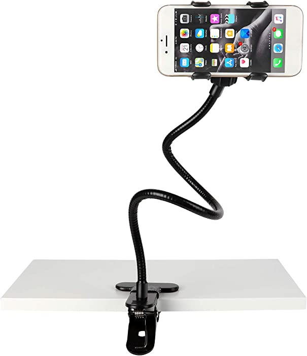 Slopehill Gooseneck Phone Holder for iPhone X XR XS 8 7 Plus Samsung Galaxy S10, Cell Phone Clip Holder for Bedroom Desktop Office Bathroom Kitchen, Rotate Freely Lazy Bracket Holder, Black