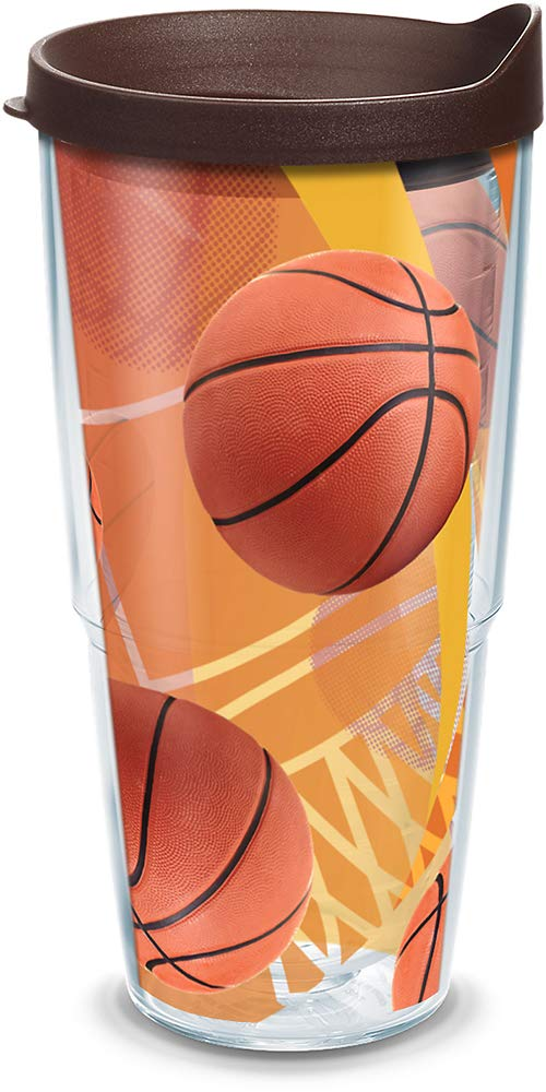 24-Ounce Tervis Basketball Wrap Tumbler with Brown Lid