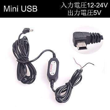 Coche Auto Direct Wire Mini USB Dash Cam Cargador CC 12V / 24V a 5V En-Coche Carga Cable para Dash Cam Grabador DVR GPS Tablet Teléfono Celular ...