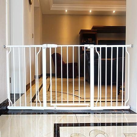HYDT Barrera de Seguridad Puerta para bebé Blanca con Puerta, Puerta para Perro de Seguridad para escaleras Pasillo de Puerta, Ancho Ajustable, 24