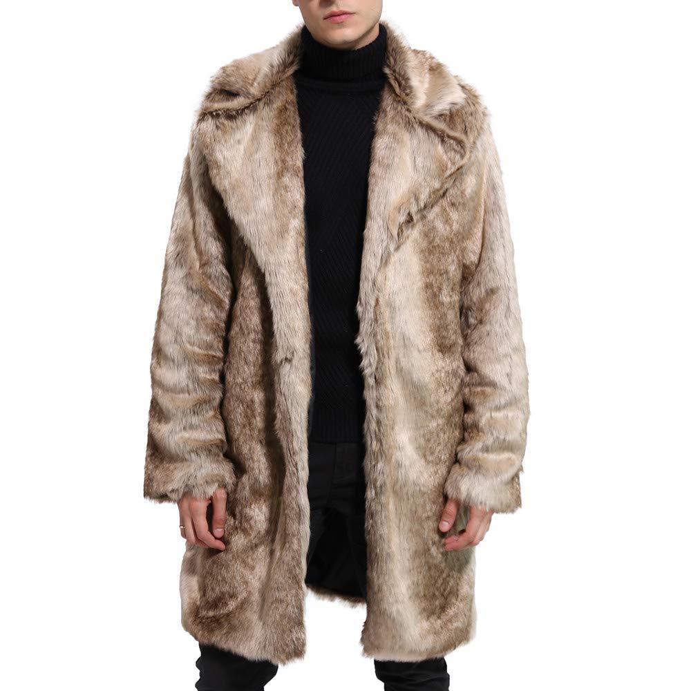 MAYOGO Herren Kunstpelz Lange Trenchcoat Overcoat Winter Männer Lang Faux Fur Parka Mantel Mantle Umhang