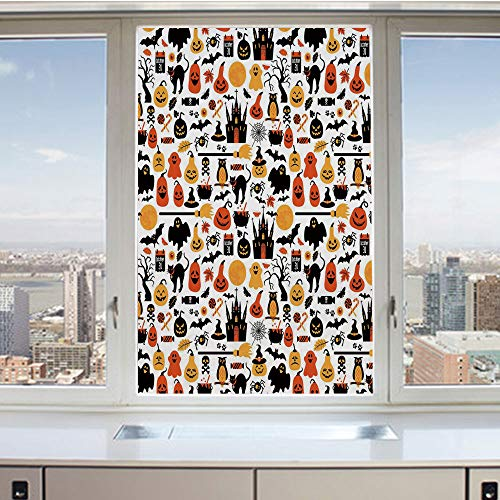 (3D Decorative Privacy Window Films,Halloween Icons Collection Candies Owls Castles Ghosts October 31 Theme Decorative,No-Glue Self Static Cling Glass film for Home Bedroom Bathroom Kitchen Office)