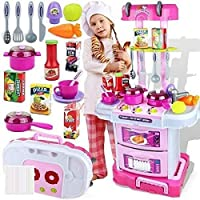 Techhark Little Chef Kids Kitchen Play Set with Light & Sound Cooking Kitchen Set Play Toy (3 in 1) (Pink)