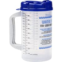 Water Essentials Tracking Hospital Mug for Daily Intake Measuring with Straw 32 oz Blue Swivel Lid