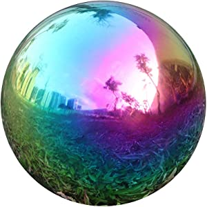USHome Rainbow Home Garden Gazing Globe Mirror Balls, Polished Stainless Steel Shiny Sphere, Ideal As a Housewarming Gift (12 Inch)