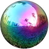 USHome Rainbow Home Garden Gazing Globe Mirror Balls, Polished Stainless Steel Shiny Sphere, Ideal As a Housewarming…