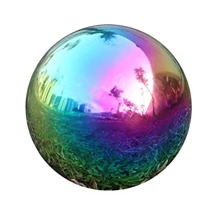 Kanff Gazing Ball Durable Stainless Steel Blue Ball 8 Inch Home Gazing Globe Mirror Ball in Rainbow Stainless Steel