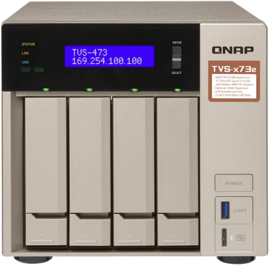 QNAP 4-bay NAS/iSCSI IP-SAN, AMD R series Quad-core 2.1GHz, 4GB RAM, 10G-ready (TVS-473e-4G-US)
