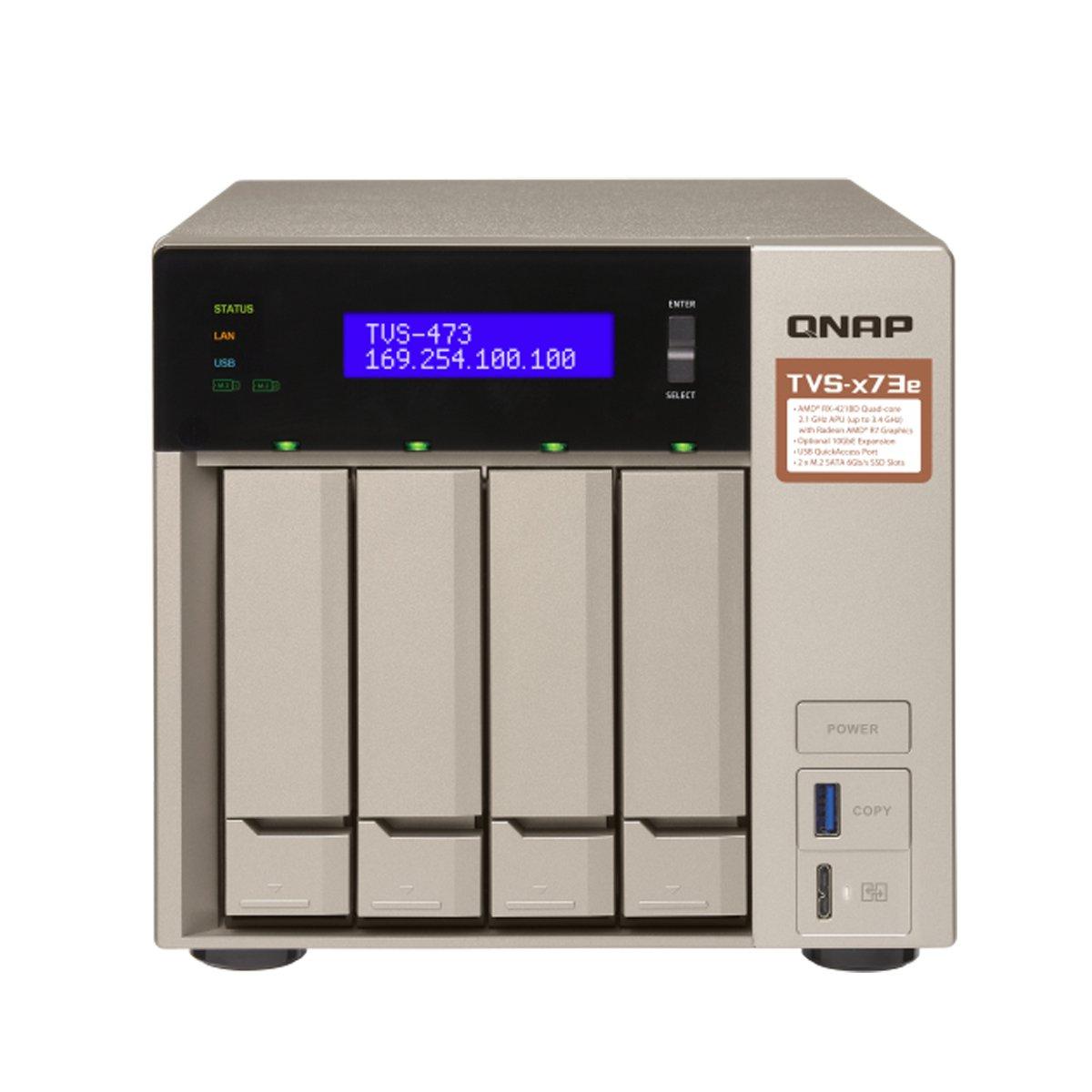 Qnap 4-bay NAS/iSCSI IP-SAN, AMD R series Quad-core 2.1GHz, 8GB RAM, 10G-ready (TVS-473e-8G-US)