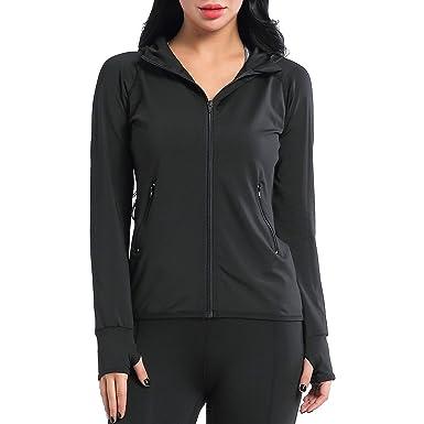 6c92860a1 AMZSPORT Women's Running Jacket Long Sleeve Sports Hoodie with Zip Side  Pocket Black S