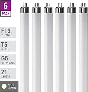 "(Pack Of 6) F13T5/CW - T5 Fluorescent 4100K Cool White - 13 Watt - 21"" Super Long Life Light Bulbs"