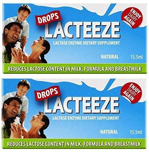 2 pack Lactase Enzyme Lacteeze Drops 15.5 ml Liquid by Gelda Scientific
