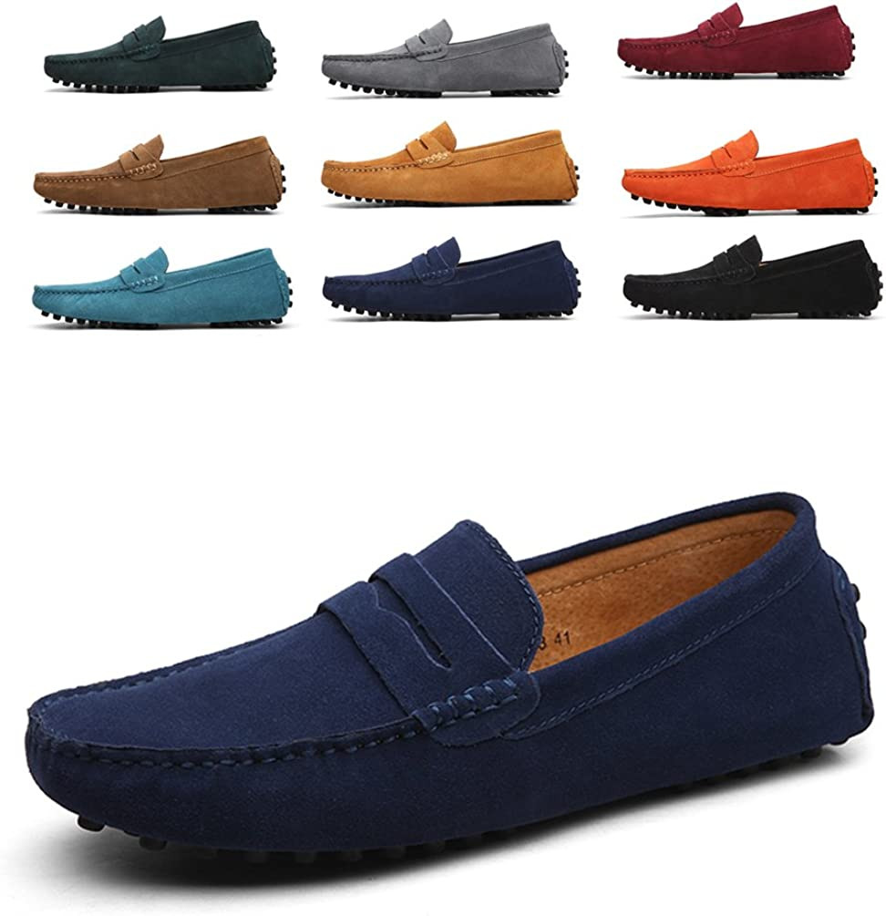 Mens Cow Leather Lace Up Penny Casual Slip On Loafers Hollow Splice Vamp Soft