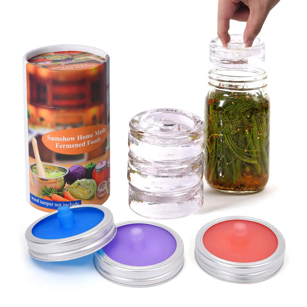 Samshow fermentation kit - 3 Pack of Fermentation Glass Weights with Easy Grip Handle, 3 pack Waterless Airlock Fermentation Lids,3 pack aluminum rust resistant bands for Wide Mouth Mason Jar by Samshow