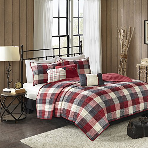 (Madison Park Ridge King/Cal King Size Quilt Bedding Set - Red, Plaid – 6 Piece Bedding Quilt Coverlets – Ultra Soft Microfiber Bed Quilts Quilted)