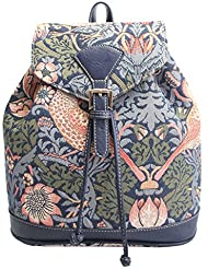William Morris Strawberry Thief Tapestry Flap Buckle Pull String Backpack by Signare
