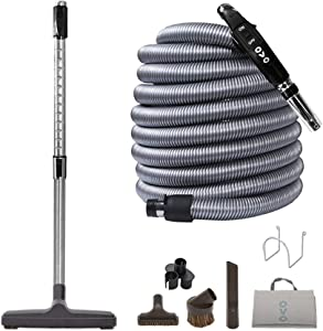 OVO Central Vacuum Deluxe Kit, With 30ft Low-Voltage hose, ON/OFF Control at the handle, 12'' floor brush and accessories, For hard surfaces, Black and grey