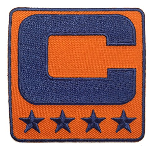 Orange & Royal Blue Captain C Patch TEAM COLOR EDITION Iron On for Jersey Football, Baseball, Soccer, Hockey, Lacrosse, Basketball