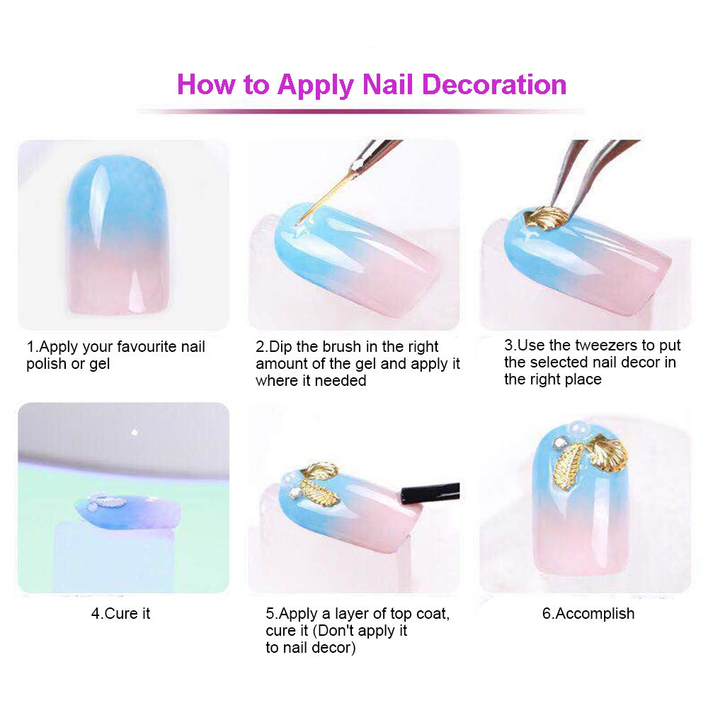GOTONE 5 Boxes Colorful Nail Art Rhinestones and Crystals, Nail Crystal Gems, Mixed Shapes Gold Rose Gold Metal Nail Art Studs Rivets, Sharp and Flat Base Rhinestones for Face Body Cellphone Case by GOTONE