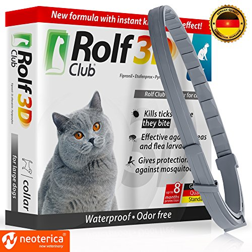 Rolf Club 3D FLEA Collar for Cats - Flea and Tick Prevention for Cats - Cats Flea and Tick Control for 8 Months - SAFE Tick Repellent - WATERPROOF Tick Treatment (for Cats) by Rolf Club 3D