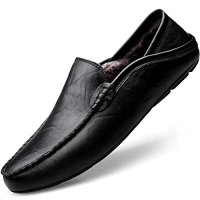 Rokiemen Men's Loafers Slip On Genuine Leather Driving Shoes Casual Walking Shoes Non-Slip Mocassin Flats Work Shoes | Loafers & Slip-Ons