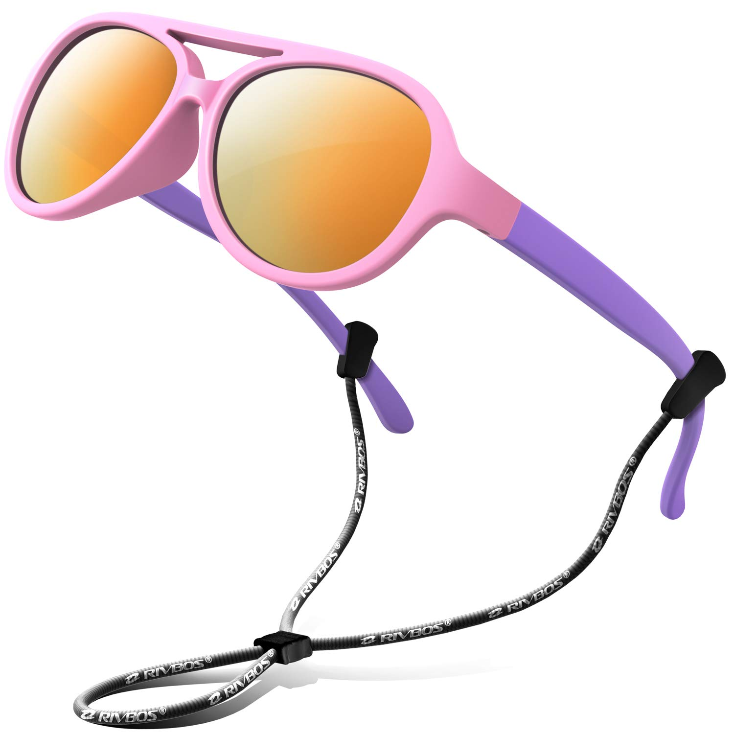 RIVBOS Rubber Kids Polarized Sunglasses Strap Glasses Shades Boys Girls Baby Children Age 3-10 RBK004 (Pink Coating Lens)