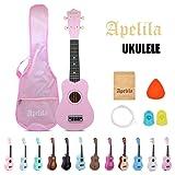Apelila 21 inch Soprano Ukulele Acoustic Mini Guitar Musical Instrument with Bag, Pick, Strings, for Beginner, Kid, Starter, Amateur (21