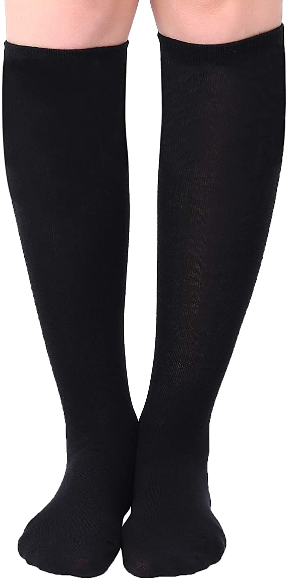 3 Pairs Women/'s Girls Knee High Diamond Pattern Black Pop Socks One size  P22