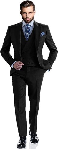 Amazon.com: DGMJDFKDRFU Traje de 3 piezas Slim Fit elegante ...