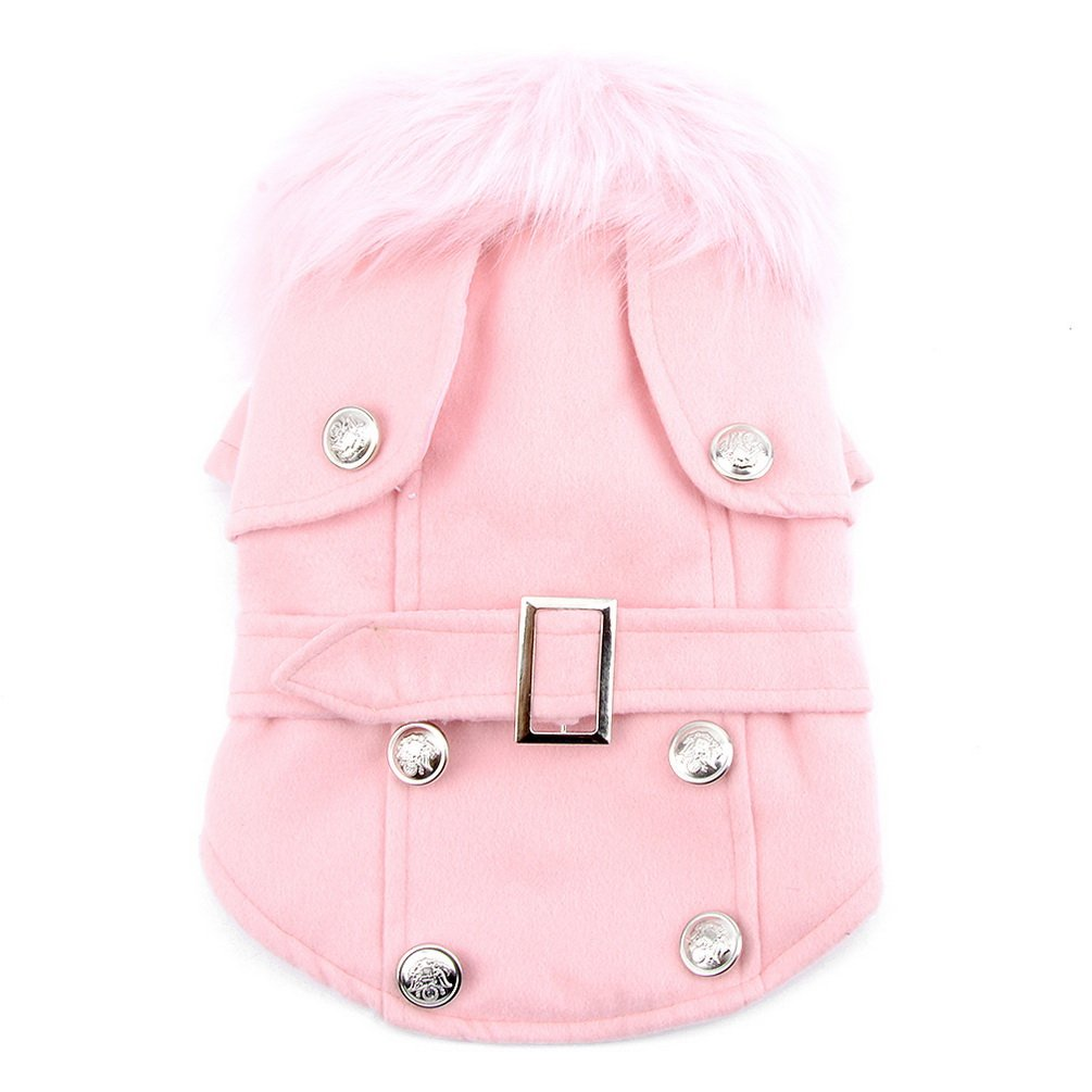 Pet Cat Dog Clothes European Woolen Fur Collar Coat Small Dog Cat Pet Clothes Costume Pink M SMALLLEE_LUCKY_STORE XY000052-pink-M