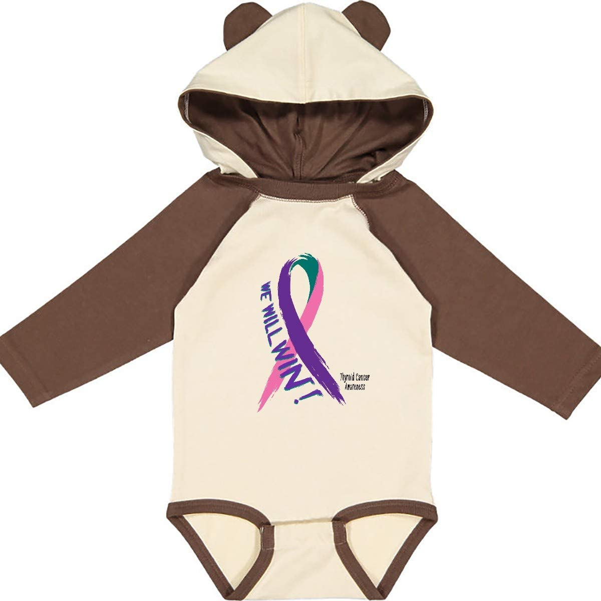 inktastic We Will Win Against Thyroid Cancer Ribbon Long Sleeve Creeper