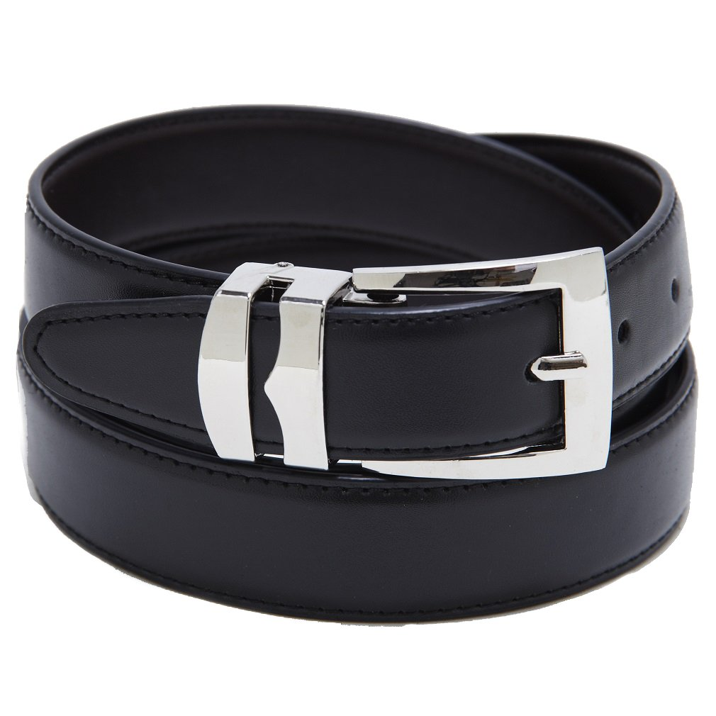 Reversible Belt Bonded Leather Removable Silver-Tone Buckle NAVY BLUE//Black