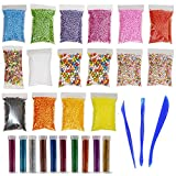 Foam Beads for DIY Slime–Slime Making kit,Including 15 Bags (60000) Color Foam Balls, 1000 pcs Fruit Slice ,10 Bottles Glitter Powder, 3 Slime Tools ,for Slime Making Art DIY Craft(Not Contain Slime)