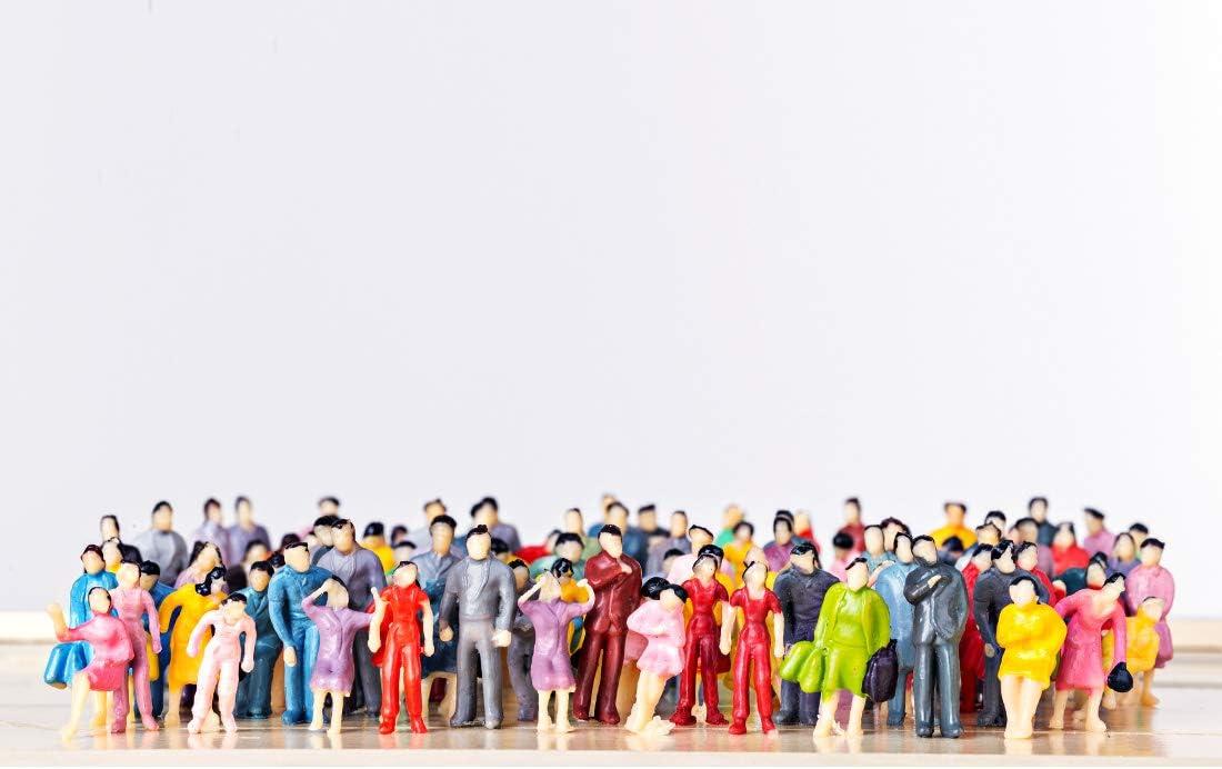 K9CK Modell Figuren 100 St/ück Stehende und Sitzende Figuren Modellbau Miniaturen f/ür Modelleisenbahn Figuren H0 1:87