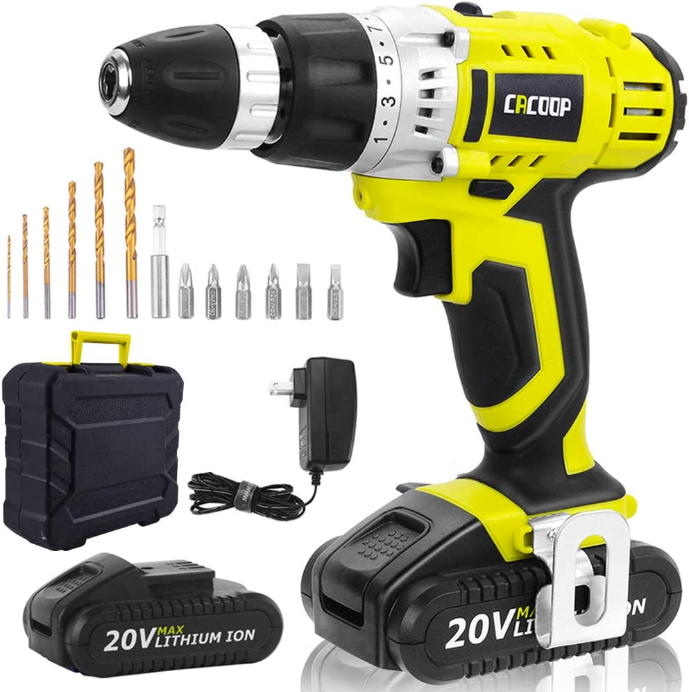 CACOOP Green Cordless 20V Lithium-ion Drill Driver Set 1.5Ah ,2 Battery, 1 Charger, and 1 Carrying Case Included