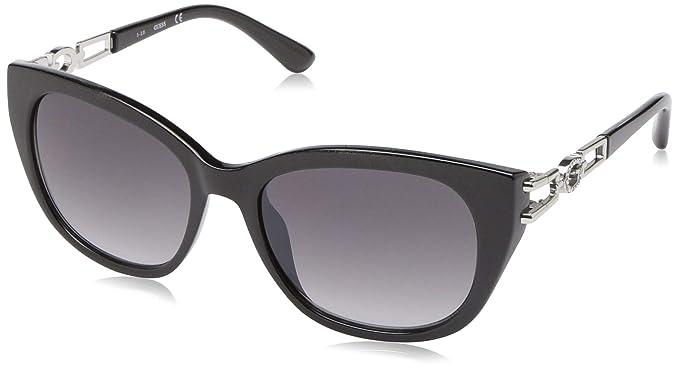 7de595bf93 GUESS Gu7562 - anteojos de sol cuadradas para mujer, color negro brillante y  humo degradado