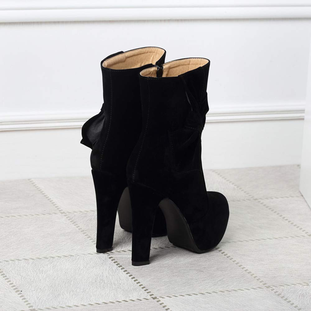 HhGold Runde Kopf Wasserdichte High Heel Heel Heel Fashion Side Zipper Sexy Damen Kurze Stiefel (Farbe   Schwarz, Größe   7 UK) 8f8f25