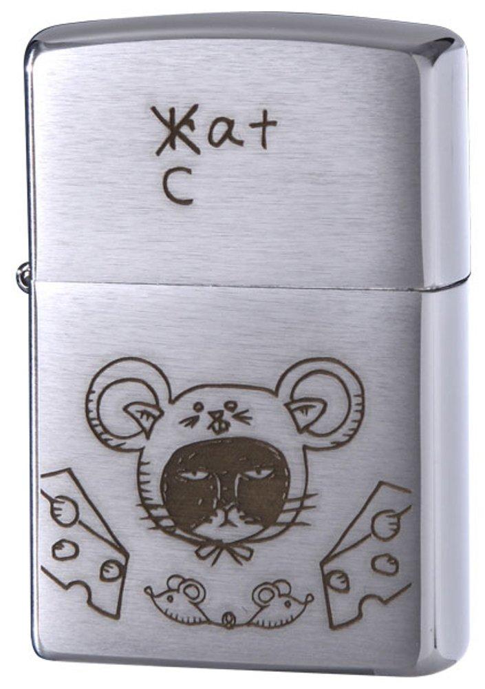 ZIPPO(ジッポー) ライター ネコ RAT クローム サテン 200-RAT B06XGB9PYT