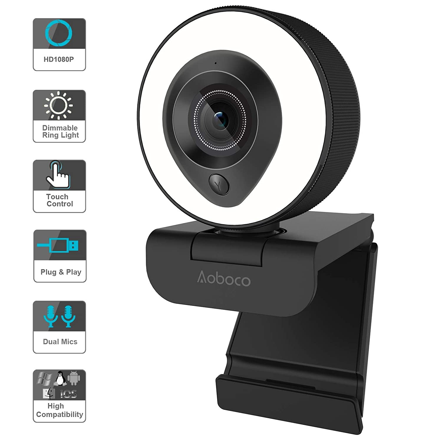 Aoboco Pro Stream Webcam 1080P HD with Dual Mics & Dimmable Ring Light, PC  Webcam Conference Game Video Web Camera for Computer Monitor Laptop Desktop