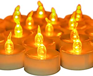Youngerbaby 24 PCS Battery Operated Tea Lights Flameless Flickering Amber LED Tea Lights for Wedding Centerpieces Home Decorations Birthday Party, Long Lasting,White Base