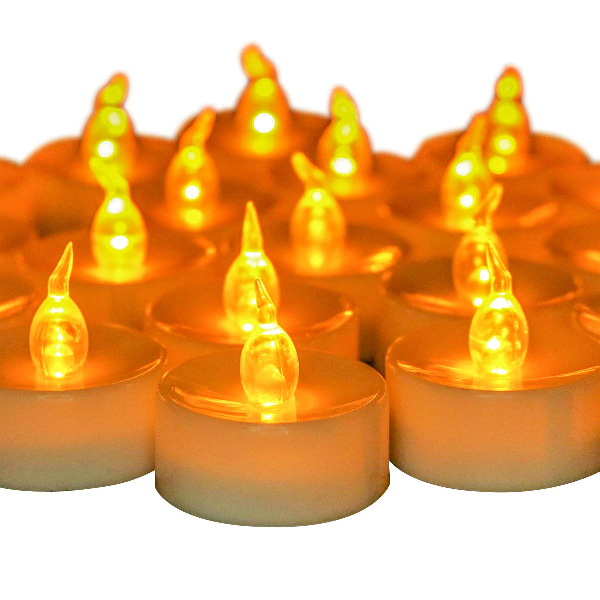 Youngerbaby 24 PCS Battery Operated Tea Lights Flameless Flickering Amber LED Tea Lights for Wedding Centerpieces Home Decorations Birthday Party, Long Lasting,White Base by Youngerbaby