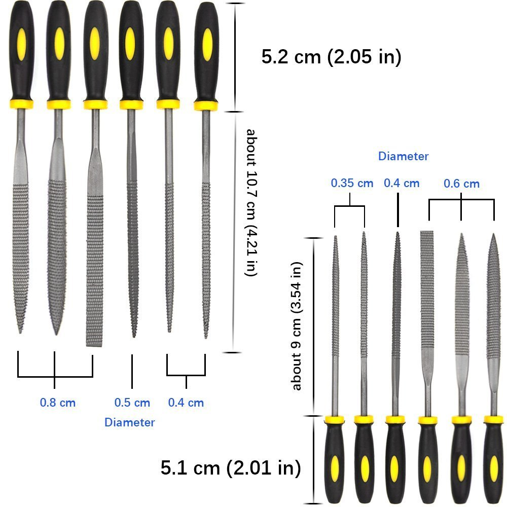 ADVcer Wood Rasp File Kit - 12 Assorted Small Metal Needle Files Set with Bristle Brush and Hand Strap Carrying Case (Rasps included 2 Sizes of Flat, Pointed Flat, Round, Half Round, Square, Triangle) by ADVcer (Image #4)